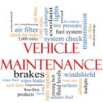 Vehicle Maintenance Word Cloud Concept with great terms such as wipers oil change brakes tires lights coolant and more.